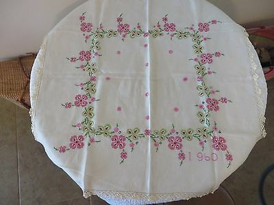 Vintage 1960 Embroidered Pink Floral Tablecloth Crochet Trimmed *Euc*