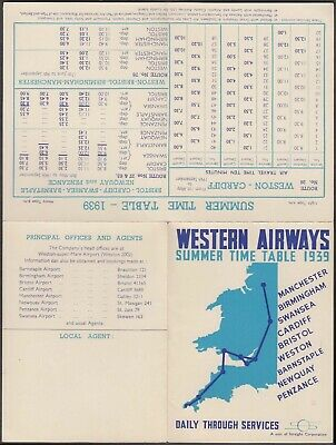 Gb Interesting 1939 Western Airways Summer Time Tablet With Map&Route Illustrate