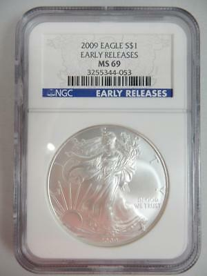 2009 American Silver Eagle, NGC MS69, ASE S$1, EARLY RELEASE   #K30