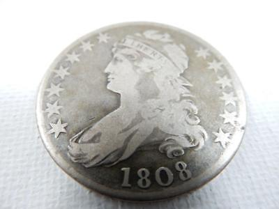 1808, Capped Bust Half Dollar, F Details   #R144