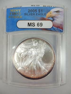 2005 American Silver Eagle, ANACS MS69, ASE S$1, FIRST STRIKE   #K13