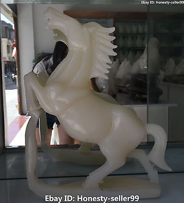 "16"" Rare Chinese Natural White Jade Success Running Horse Horses Animal Statue"