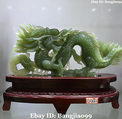 "12"" 100% Real Natural Green Jade Wealth Money Dragon Loong Dragons Animal Statue"
