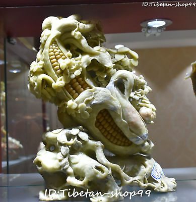 """12"""" Chinese Pure Natural Shoushan Stone Handwork Carving Corn Maize Craft Statue"""