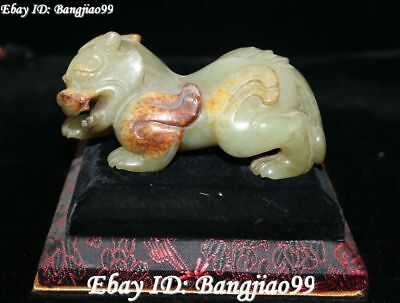 8CM Old Natural Hetian Green Jade Carving Wealth Brave Troops Pixiu Beast Statue