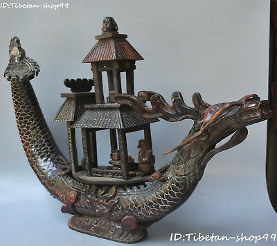 """23"""" Huge Natural Ox Horn Carving Ancient Old Man Teapot Dragon Boat Ferry Statue"""