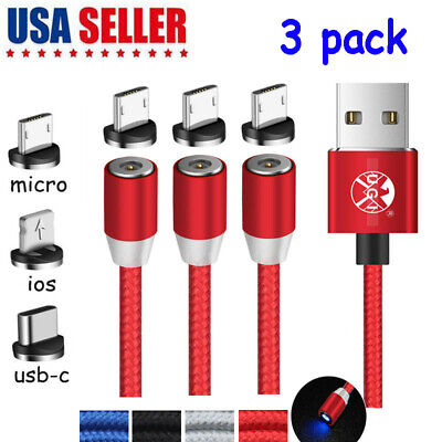 3 Pack Magnetic Type C Micro USB Cable Fast Charger Cable For iPhone Android US