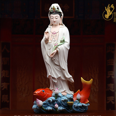 50CM China Dehua Colored Porcelain Kwan-yin Guan Quan Yin Fish Lotus Ruyi Statue