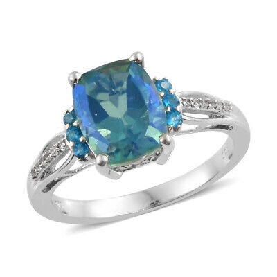 Silver Platinum Plated Peacock Quartz Neon Apatite Engagement Ring Gift