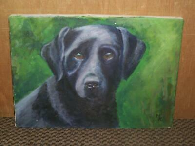 C20Th Black Labrador Dog Oil Painting On Canvas Signed Mk  No Reserve