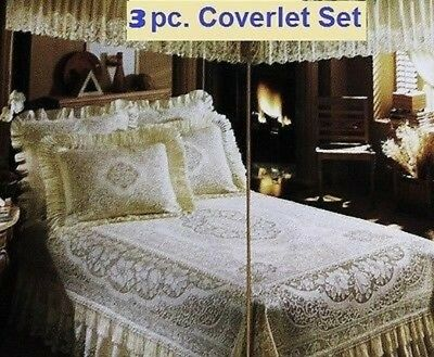 3pc Ivory Victorian Rose Queen Size Lace Coverlet with Shams Bedroom