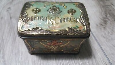 Antique ca. 1910 Russian Popov Brothers Tea Caddy Box hand painted TIN VINTAGE!