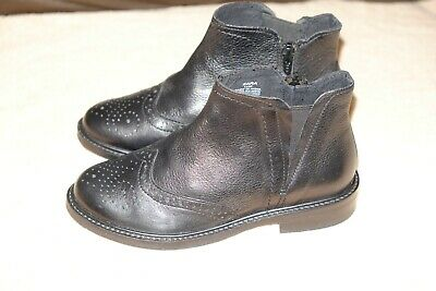 ZARA girls black real leather chelsea ankle boots size 12/32 New
