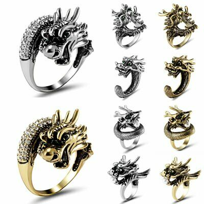 Fashion Stainless Steel Men Vintage Punk Dragon Head Knuckle Finger Ring Jewelry