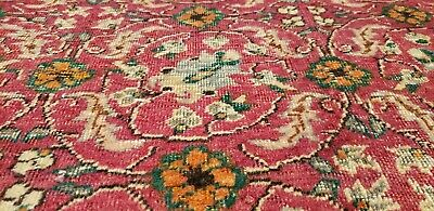 Stunning Pomegranate Red Cr1920-1939s Antique Wool Pile Hereke Rug 7x10ft