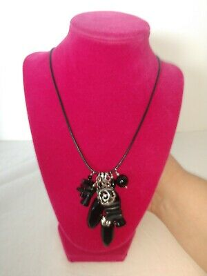 Barse necklace Multiple Charms On Black Leather Cord With Sterling *SHIPS FAST*
