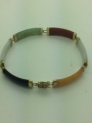 Vintage Chinese 14 Kt Multi Color Natural Jade Bracelet