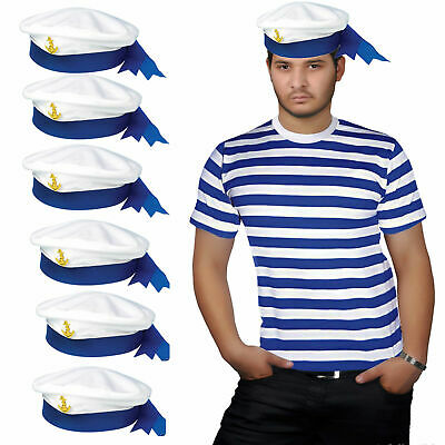 NEW MEN/'S WHERES WALLY STRIPE T-SHIRT SAILOR HAT ADULT FANCY DRESS S TO XXL