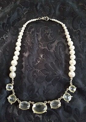 Stunning Vintage Necklace Faux Pearls & Large Rhinestones Just gorgeous!! 19""