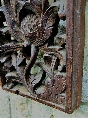 Antique Carved Wooden Wall Plaque Furniture Panel