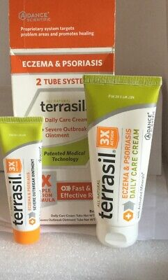 New Terrasil NATURAL ECZEMA & PSORIASIS FAST/EFFECTIVE RELIEF 2 TUBE SYSTEM