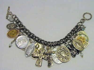 Vtg Catholic Religious Medals Charm Bracelet~21 Pc/5 are Sterling-2 Unmarked~8""