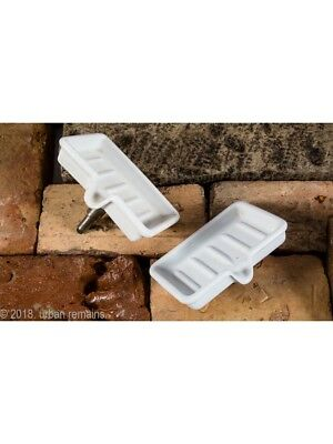 Two Residential Bathroom Sink Soap Trays With Drains And Nickel-Plated Posts