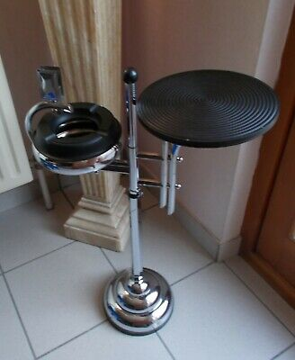 French Art Deco Chrome Bakelite Smokers Stand Floor Ashtray, 1930s Demeyere