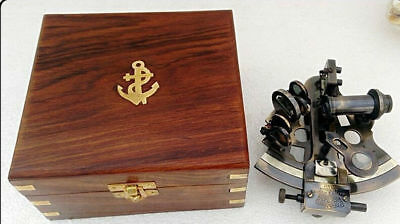 Antique Maritime Brass Sextant With Wooden Box Vintage Collectible 5''