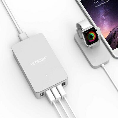LETSCOM CSE Multi Port USB Charger - 40W / 8A 5-Port Wall Charger Grey