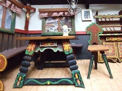 Antique Wooden German Folk Art Diorama Kitchen Scene Handpainted Furniture