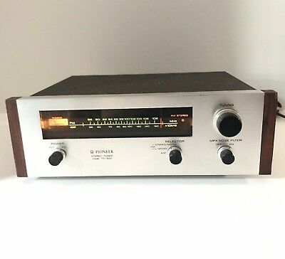Vintage Pioneer Receiver Stereo Tuner TX-500 Silver w Wood Japan AM FM | Tested