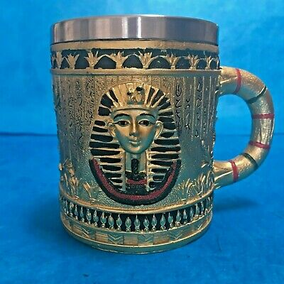 Coffee Mug Cup King Tut Egyptian Pharaoh Gold Ancient Egypt Prop Embossed NEW