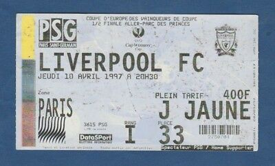Orig.Ticket  Winners Cup  1996/97  PARIS SG - LIVERPOOL FC  1/2 FINAL ! RARE