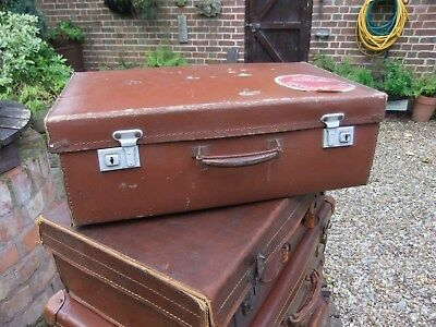 VINTAGE COLONIAL UK M&S BROWN LEATHER SUITCASE travel labels RAILWAY LUGGAGE