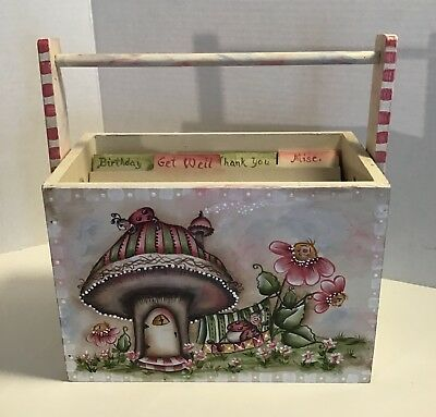 Hand Painted Wooden Greeting Card Box by Artist Joan Clement