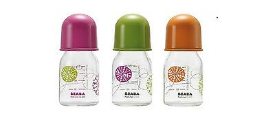 BEABA BABY FEEDING GLASS BOTTLE 110ml  Pink, Orange, or Green