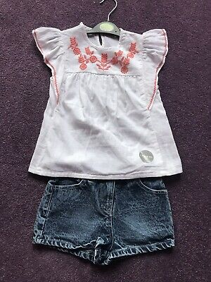 George Denim Shorts And Blouse Set Age 4-5 Years Bnwts