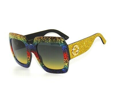 948cd959a7088 GUCCI GG0102S GLITTER multicolor gold grey shaded yellow (005 AF ...