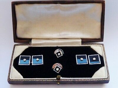 Antique Art Deco 9Ct Solid White Gold Pearl & Onyx Cufflinks / Dress Set Cased