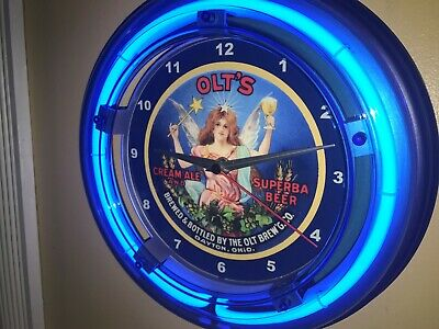 Olt's Dayton Ohio Beer Bar Man Cave Advertising Blue Neon Wall Clock Sign