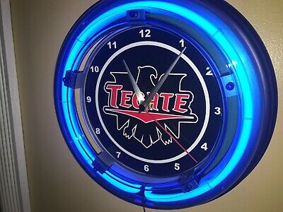 Tecate Cerveza Beer Bar Man Cave Advertising Blue Neon Wall Clock Sign