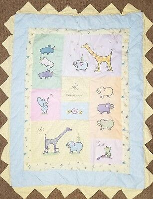 Carters John Lennon Crib Quilt Jungle Animals Real Love Blocks Baby Reversible