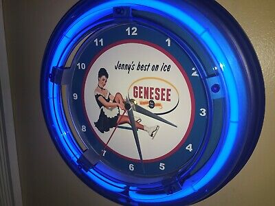 Genesee Jenny on Ice Beer Bar Man Cave Advertising Blue Neon Wall Clock Sign