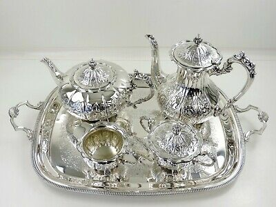 Beautiful SILVER TEA & COFFEE SERVICE on TRAY, Birmingham 1976, teaset 4495g