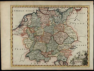 Germany Europe 1766 Jefferys map decorative cartouche pictorial German Empire