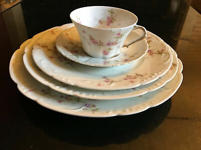 Theo Haviland Limoges schleiger 150 pink, yellow, lavender 5 piece place setting