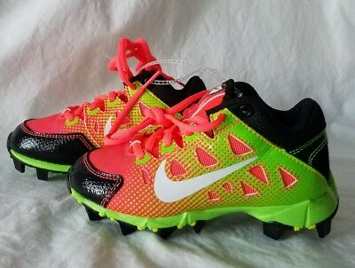 86a9d9d722e4 Nike HyperDiamond 684681-610 Youth Pink Green Softball Cleats Youth Size 5.5
