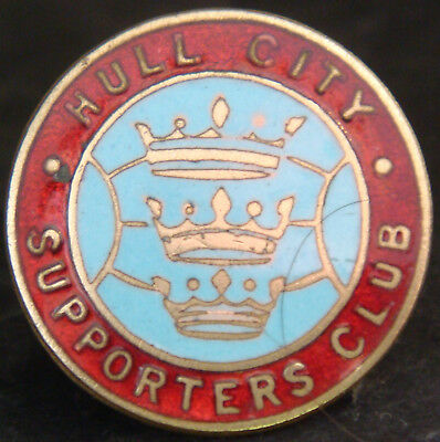 HULL CITY Vintage 1940s SUPPORTERS CLUB badge Maker W.O LEWIS B'ham Button hole