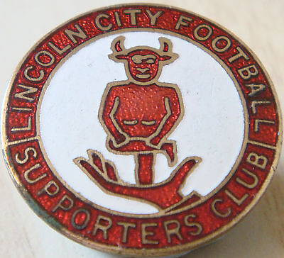 LINCOLN CITY Vintage SUPPORTERS CLUB Badge Maker FATTORINI & Sons 25mm x 25mm